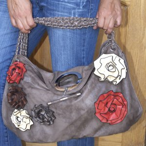 Women's Handbag Brown With Multi Colored Roses