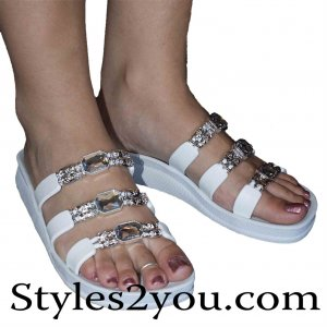 Grandco Sandals Three Strap Clear Crystal Slide Sandal In White