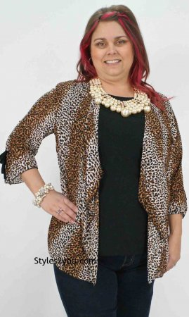 C.O.C. Clothing Women's PLUS SIZE Mona Blouse in Leopard Print