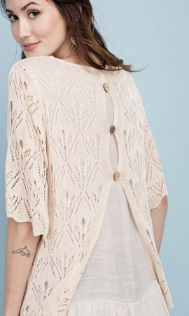 Edmonds Layered Ruffle Bottom Lightweight Knit Babydoll Sweater
