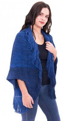 Mcallen Short Sleeve Sweater Wrap With Fringe In Blue