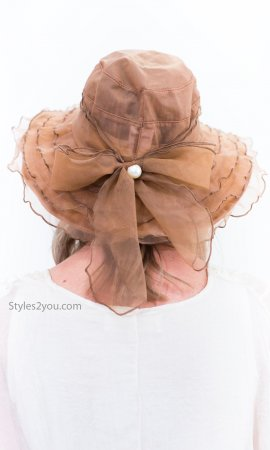 Ashburn Multi Tiered Reproduction Vintage Victorian Hat In Brown