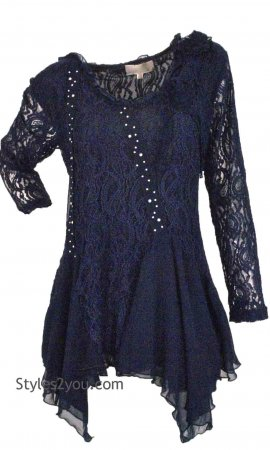 Samantha PLUS SIZE Ladies All Lace Tunic In Blue