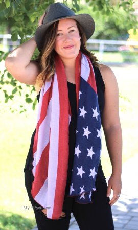 Distressed Vintage American Flag Vest Tank Top Or Scarf