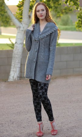 Ruth Sweater Knit Cardigan With Fur Trim In Gray