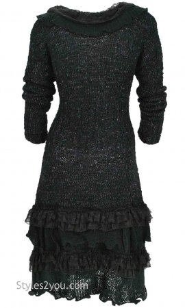 Ebony Long Vintage Sweater With Ruffles & Lace In Black