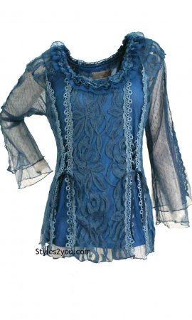 American Vintage Lace Blouse Steampunk Victorian Top In Blue