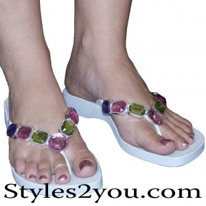 Grandco Sandals Purple, Pink & Green Crystal Sandals With White