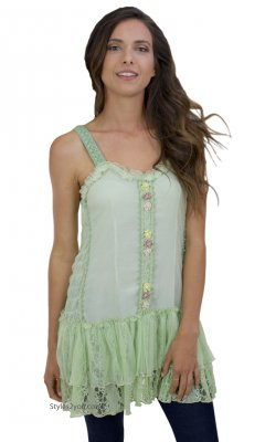 Kinslee Ladies Shabby Chic Top Tunic Dress In Light Green