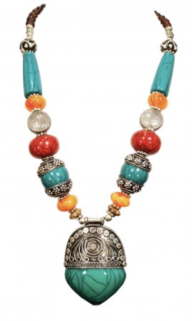 India Beaded Chunky Necklace In Multi Colors