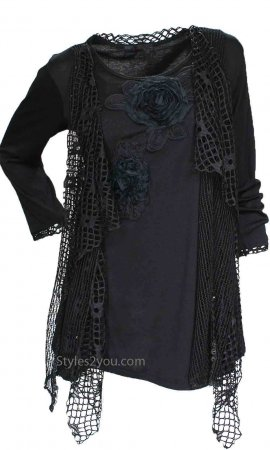 Memphis Modern Vintage Layered Top Tunic Black Pretty Angel Tops