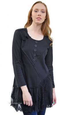 Addison Shirt Dress Extender Long Sleeves & Lace Skirt In Black