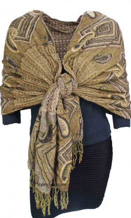 Pashmina Shawl Scarf In Golds And Browns