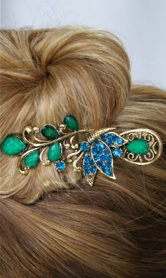 Ladies Vintage Butterfly Rhinestone Hair Clip In Turquoise