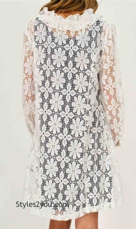 Christina Vintage Victorian All Lace Tunic Dress In White