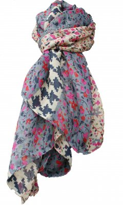 Women's Vintage Flower Scarf In Grays And Pinks