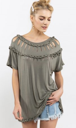 Clover Ladies Short Sleeve Braided Laser Cut Tunic Top