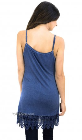 Kizzy Anne Ladies Acid Wash Cami With Crochet Hemline In Blue