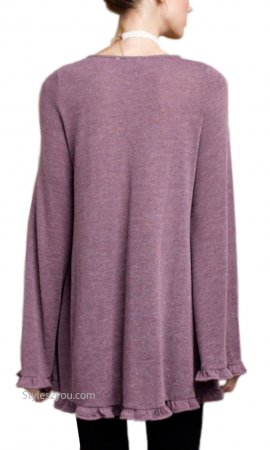 Greer Knit Tunic With Crochet Trim & Ruffles In Plum Easel