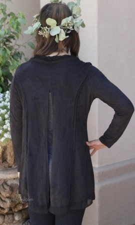 Donna Hippy Bohemian Vintage Open Cardigan In Black Monoreno