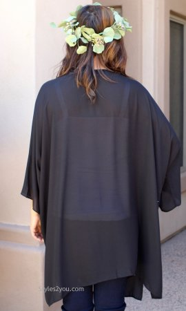 Brooks Curvy Dress Cardigan Ladies Duster In Black  JOH Apparel