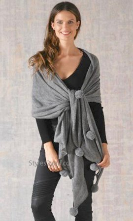 Shawnee Ladies Oversized Knit Scarf Shawl Wrap In Gray