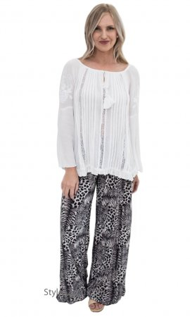 Paige Ladies Wide Leg Palazzo Pant In Animal Print Black