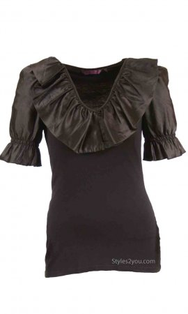 Brooklyn Ladies Silky Satin Blouse In Black