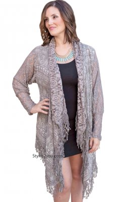 Lydia Ladies Long Lace Sleeve Crochet Open Cardigan In Gray