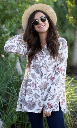 Roseanne Cotton Floral Print Button Up Blouse In Off White Easel