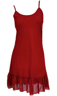 Slip Ruffle Slip Shirt Dress Extender Dark Red Pretty Angel Tops