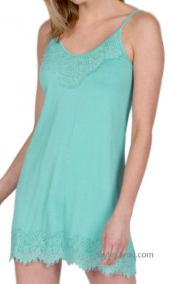 Renton Shirt Extender Slip Dress Cami With Eyelash Trim Sea Blue