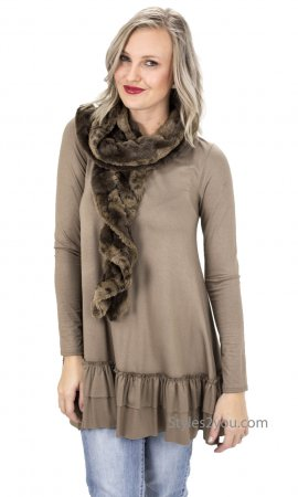 Faux Fur Ruffle Scarf Long In Browns