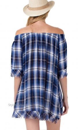 Story Relaxed Light Weight Plaid Top Distressed Hems Tunic Blue