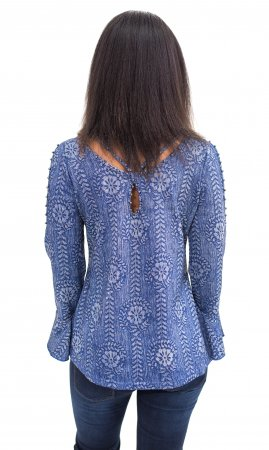 Silvia Slim Fitting Rhinestone & Crochet Long Bell Sleeve Blue