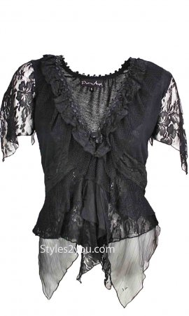 Sophia Victorian Blouse/Cardigan In Black