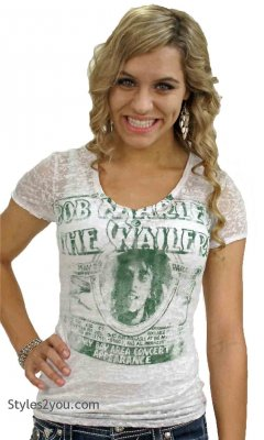 Bob Marley & The Wailers Concert Burn Out Tee Shirt