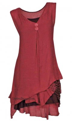 Colette Ladies Bohemian Retro Two Piece Knit Shirt Dress Dk Red