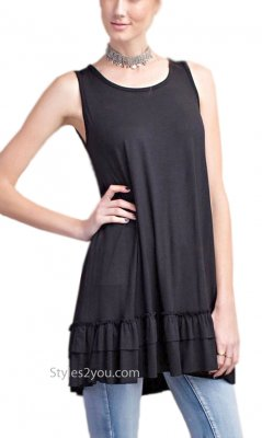 Cruise Ladies Ruffle Shirt Dress Extender In Black Easel Dresses