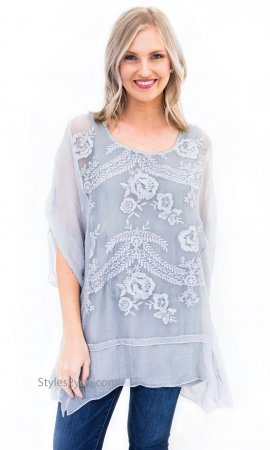 Katy Embroidered Vintage Victorian Tunic In Color Washed Gray