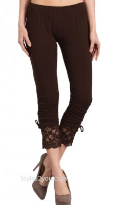 Garnet LARGE Lace Trim Knit Pants Ruche Detail Brown Seduzione