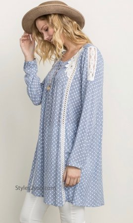 Duvall Mystree Bohemian Lace Trimmed Shift Shirt Or Dress Blue