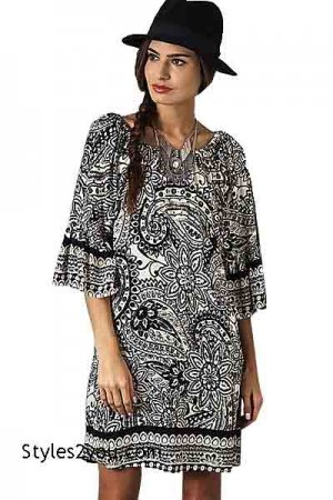 Paisley Dress Tunic Ladies Boho Hippy Dress In Black & White