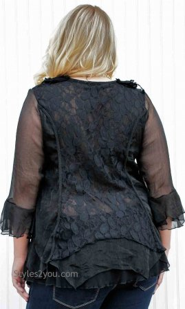 Montabella PLUS SIZE Ladies Vintage Victorian Blouse Black Top