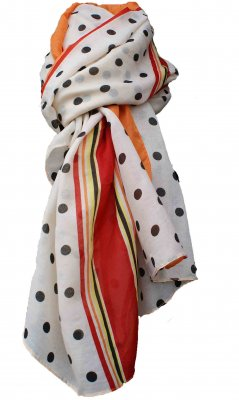 Ladies Traditional Scarf In Beige, Brown, Yellow, Red And Orange