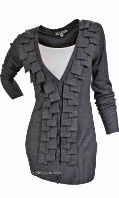 Barbara Cardigan With Fringe In Gray