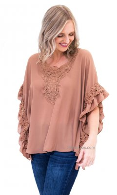 Lakewood Ladies Crochet Ruffles Blouse In Brown