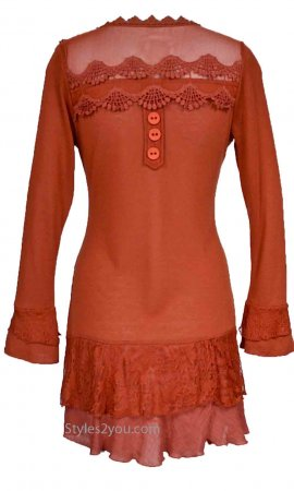 Rain Ladies PLUS SIZE Layered Vintage Victorian Blouse In Rust