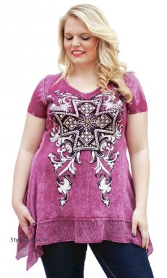 Lotus Ladies PLUS SIZE Bohemian Tunic In Pink Vocal Clothing Top