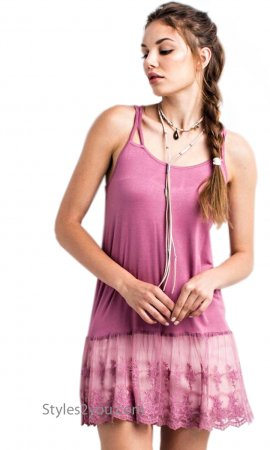 McKinney Stretchy Layering Tank Cami With Lace Hemline In Plum